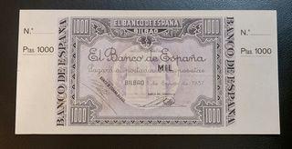 BILLETE 1000 PESETAS 1937 BILBAO CON MATRIX