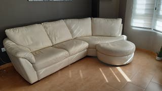 sofa rinconera piel blanco roto