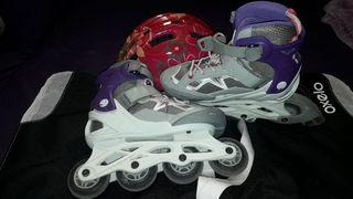 Patines + casco + bolsa de patines .