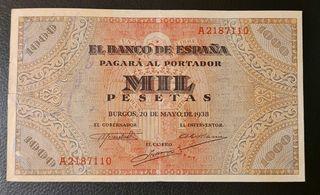 BILLETE 1000 PESETAS 1938 BURGOS SERIE A