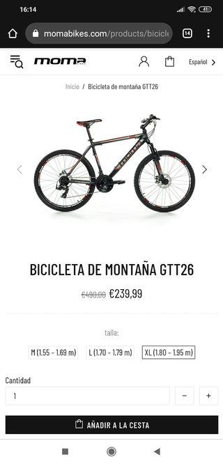 bicicleta MTB moma gtt26 2020