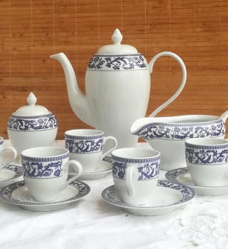 Juego de café, porcelana Mediterráneo.