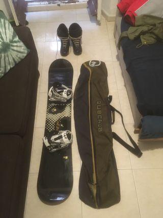 Equipo de Snowboard. Funda/Tabla/Fijaciones/Botas