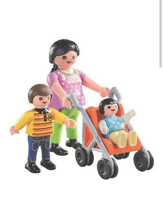 playmobil mamá embarazada con dos niños