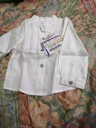 Camisa de lino, talla 9 meses