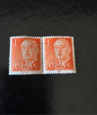2 Sellos de Franco Naranja 1 peseta con matasellos