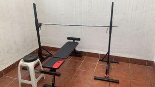 Musculación: barra, pesas y banco