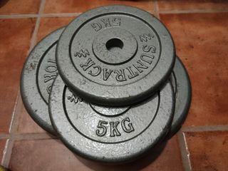 Discos clásicos hierro fundido. Peso: 5 Kg y 10 Kg