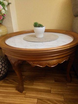Mesa antigua madera-marmol