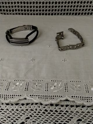 2 pulseras de acero unisex