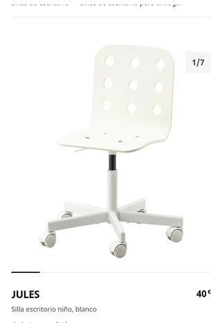 Silla escritorio niños blanca - JULES