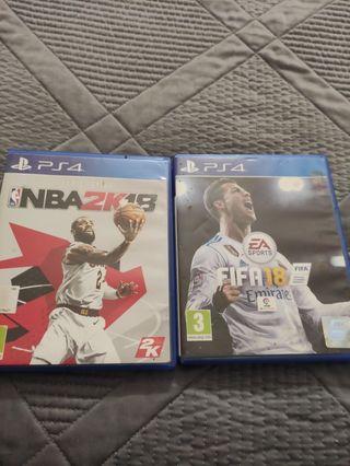 Fifa18 y NBA 2k18 ps4 x 10 euros los 2 juegos