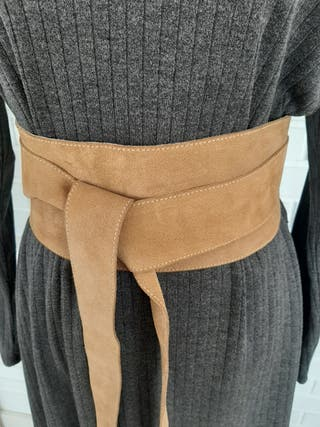 Cinturón de piel vuelta ante ancho marrón camel