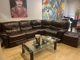 Sofa piel 4 plazas + puf a juego
