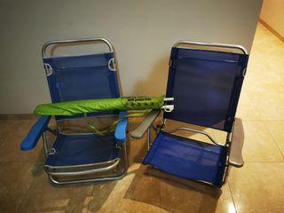 Sombrilla y sillas de playa