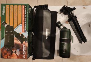 Digiscoping, telescopio, prismáticos