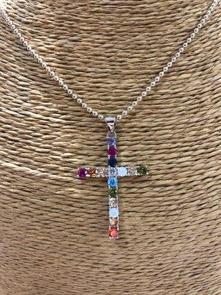 Colgante cruz plata piedras preciosas