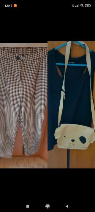 pantalón cuadros H y M + camiseta + bolso zara