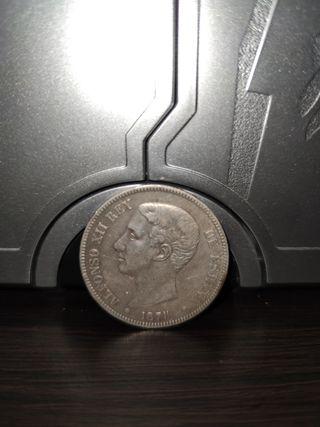 moneda de plata 1878 original Alfonso XII