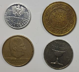 lote 4 monedas mundiales