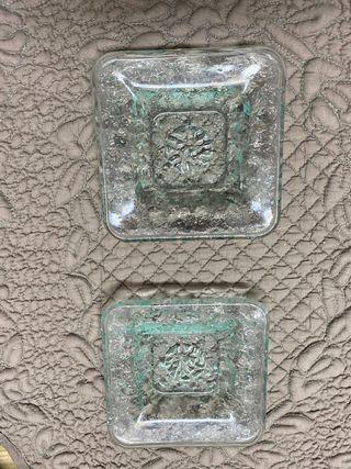 Duo platitos cristal reciclado nuevos
