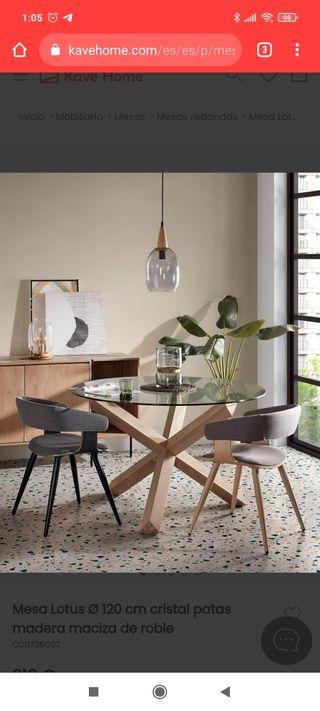 mesa comedor redonda cristal NUEVA