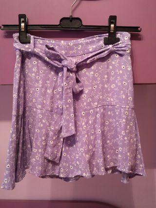 Falda pantalón flores Zara talla-Xs