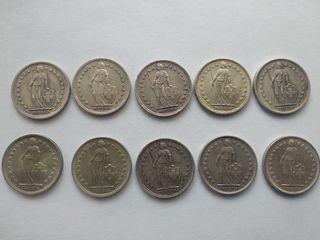 10 monedas 2 francos Suiza plata
