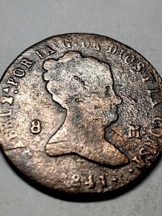 Isabel II, 8 Maravedís SG, del año 1841.
