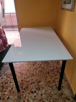 mesa lacado brillo blanco