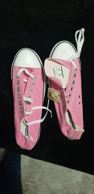 zapatillas conver rosas