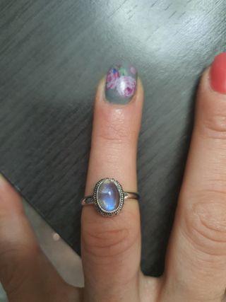 anillo piedra lunar plata s925