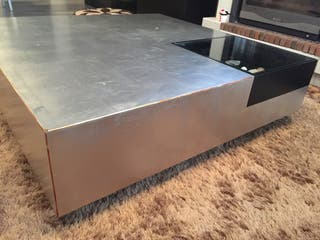 Mesa de pan de plata gris 1,15x1,15cm