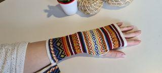 Mitones guantes étnicos de LANA DE ALPACA