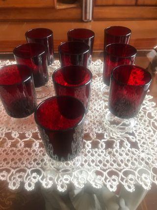 10 copas de chupitos en cristal rojo