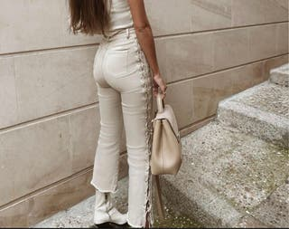Pantalon trenzado beige