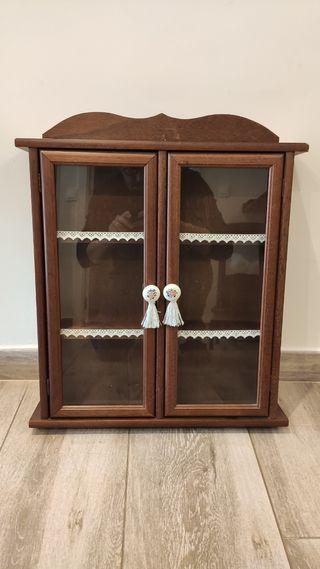 Vitrina vintage vidrio y madera