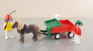playmobil niños granja carro pony 3583