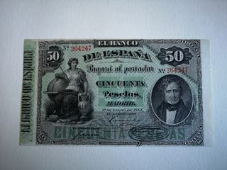 billete 50 pesetas 1884
