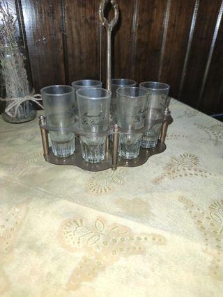 bandeja y 6 vasos de manzanilla vintage
