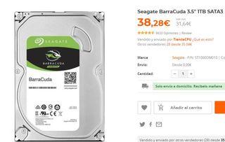 "DISCO DURO 1TB Seagate BarraCuda 3.5"" 1TB SATA3"