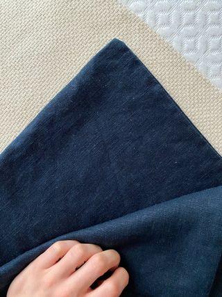 2 Fundas cojín lino azul marino