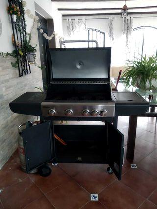 Barbacoa de gas Qlima, cocina de exterior, Negra