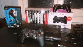 PS3 SUPER SLIM 500GB + 2 MANDOS + JUEGOS