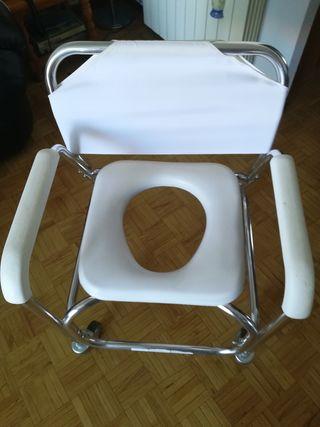 silla de baño y WC con ruedas y freno