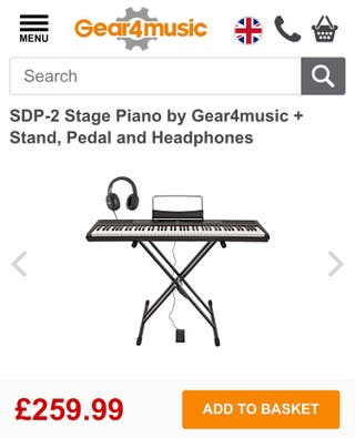 Stage Piano + stand + pedal + headphones