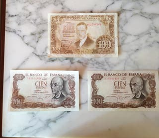 lote billetes 100 pesetas