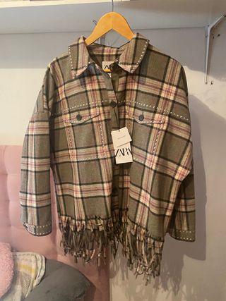 Sobrecamisa cuadros con lana zara l