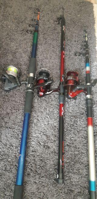 Lote equipo de pesca 3 cañas y 3 carretes