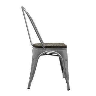 Silla reforzada de acero y madera
